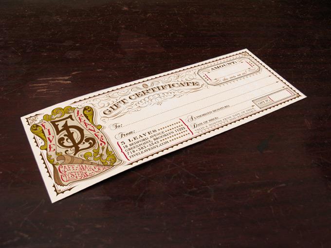 Five leaves jorden haley for Fake gift certificate